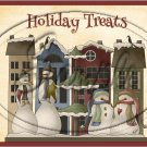 """Holiday Treats 3 Snowmen & Country Houses~ Christmas   ~ Horizontal  ~ 6"""" X 8"""" Foil Pan Lid Cover"""