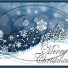 "Merry Christmas Blue Snow Flurries   ~ Horizontal  ~ 6"" X 8"" Foil Pan Lid Cover"