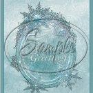 "Season's Greetings Blue Ice~ Christmas  ~ Vertical  ~ 6"" X 8"" Foil Pan Lid Cover"