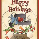 """Happy Holidays Cookies & Happy Hearts Snowman ~ Christmas ~ Vertical  ~ 6"""" X 8"""" Foil Pan Lid Cover"""