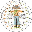 """Fall Leaves Scarecrow ~ 7"""" Round Foil Pan Lid Cover"""