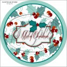 "Merry Christmas ~ Aqua Holly ~ 7"" Round Foil Pan Lid Cover"