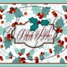 "Happy Holidays ~ Christmas ~ Aqua Holly ~  Horizontal ~ 6"" X 8"" Foil Pan Lid Cover"