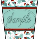 Personalize It! Green ~ Aqua Holly ~ Christmas ~ Gift Card Holder Latte` Cup