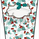 Personalize It! Holly Text Box ~ Christmas ~ Aqua Holly ~ Gift Card Holder Latte` Cup