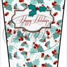 Happy Holidays ~ Christmas ~ Aqua Holly ~ Gift Card Holder Latte` Cup