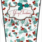 Merry Christmas ~ Aqua Holly ~ Gift Card Holder Latte` Cup