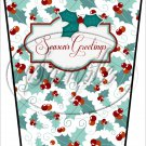 Seasons Greetings ~ Christmas ~ Aqua Holly ~ Gift Card Holder Latte` Cup
