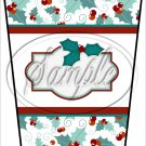 Personalize It! White Text Box ~ Christmas ~ Aqua Holly ~ Gift Card Holder Latte` Cup