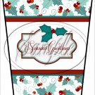 Seasons Greetings White Text Box ~ Christmas ~ Aqua Holly ~ Gift Card Holder Latte` Cup