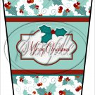 Merry Christmas Green  Text Box ~ Aqua Holly ~ Gift Card Holder Latte` Cup