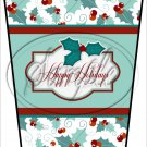 Happy Holidays Green  Text Box ~ Christmas ~ Aqua Holly ~ Gift Card Holder Latte` Cup