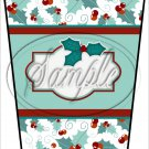 Personalize It! Green Text Box ~ Christmas ~ Aqua Holly ~ Gift Card Holder Latte` Cup