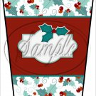 Personalize It! Red Text Box ~ Christmas ~ Aqua Holly ~ Gift Card Holder Latte` Cup