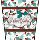 Seasons Greetings Text Box ~ Christmas  ~ Aqua Holly ~ Gift Card Holder Latte` Cup