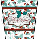 Merry Christmas Text Box ~ Aqua Holly ~ Gift Card Holder Latte` Cup