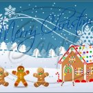 "Gingerbread Christmas ~ Horizontal  ~ 6"" X 8"" Foil Pan Lid Cover"
