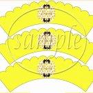 Candy Corn Bats #1 ~  Scalloped Cupcake Wrappers ~ Set of 1 Dozen
