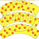 Candy Corn Bats #3 ~  Scalloped Cupcake Wrappers ~ Set of 1 Dozen