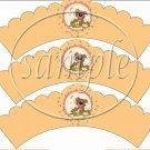 Bee - attitudes Honey Bear #8 ~ Scalloped Cupcake Wrappers ~ Set of 1 Dozen