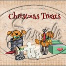 "Christmas Treats Tan Gingerbread Men  ~ Horizontal  ~ 6"" X 8"" Foil Pan Lid Cover"