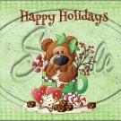 "Happy Holidays Green Bear ~ Christmas  ~ Horizontal  ~ 6"" X 8"" Foil Pan Lid Cover"