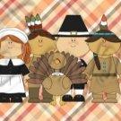 Happy Thanksgiving Pilgrims, Indian & Turkey  2 ~  Pint Glass Jar