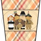 Happy Thanksgiving Pilgrims, Indian & Turkey  ~ Gift Card Holder Latte` Cup