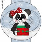 Christmas Panda ~ Pencil, Straw or Candy Cane Sliders ~ Set of 12