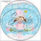 """Pastel Elf Caucasian Brown Hair  ~ 7"""" Round Foil Pan Lid Cover"""