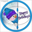 Happy Holidays Peeking Snowman Purple Blue Hat 1 ~ Pencil, Straw or Candy Cane Sliders ~ Set of 12