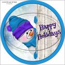 Happy Holidays Peeking Snowman Purple Blue Hat 2 ~ Pencil, Straw or Candy Cane Sliders ~ Set of 12