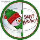 Happy  Peeking Snowman Green Red Hat 1 ~ Christmas ~ Pencil, Straw or Candy Cane Sliders ~ Set of 12