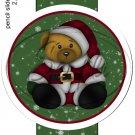 Teddy Bear Santa ~ Pencil, Straw or Candy Cane Sliders ~ Set of 12