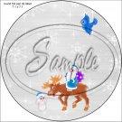 """Santa & Reindeer ~ Christmas   ~ 7"""" Round Foil Pan Lid Cover"""