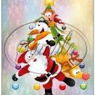 "Santa & Friends Christmas  Tree ~ Vertical  ~ 6"" X 8"" Foil Pan Lid Cover"
