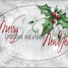 "Silver Holly Berry  Merry Christmas Happy New Year 2 ~ Horizontal  ~ 6"" X 8"" Foil Pan Lid Cover"