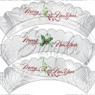Silver Holly Berry 2 ~ Scalloped Cupcake Wrappers ~ Set of 1 Dozen