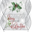Silver Holly Berry 1 ~ Pillow Treat Gift Box