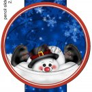 Snowman Belly Flop Dark Blue ~ Pencil, Straw or Candy Cane Sliders ~ Set of 12