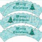 Auqa Snowflake Merry Christmas Scalloped ~ Cupcake Wrappers ~ Set of 1 Dozen
