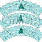 Auqa Snowflake Tree Scalloped ~ Cupcake Wrappers ~ Set of 1 Dozen
