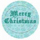 Auqa Snowflake Merry Christmas  ~ Cupcake Toppers ~ Set of 1 Dozen