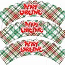 Red & Green Plaid Merry Christmas Scalloped  ~ Cupcake Wrappers ~ Set of 1 Dozen