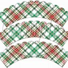 Red & Green Plaid Blank Scalloped   ~ Cupcake Wrappers ~ Set of 1 Dozen