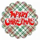 Red & Green Plaid Merry Christmas Scalloped ~ Cupcake Toppers ~ Set of 1 Dozen