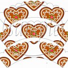 Christmas Heart Cookies  Scalloped ~ Cupcake Wrappers ~ Set of 1 Dozen