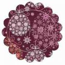 Maroon Ornaments Scalloped ~ Cupcake Toppers ~ Set of 1 Dozen