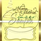 Merry Christmas From All of Us ~ Yellow ~ Standard 1.55 oz Candy Bar Wrapper  SOE