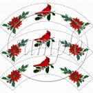 Cardinal & Poinsettia  ~ Cupcake Wrappers ~ Set of 1 Dozen